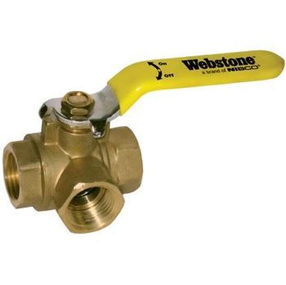 Picture of Webstone 40643 3 Way L-Port Ball Valve - 3/4 in.